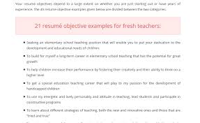 Resume Examples Teacher by Education Resume Objectives 20 New Teacher Resume Sample Teachers