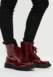 maroon ribbon burgundy high shine lace up ribbon ankle boots missguided