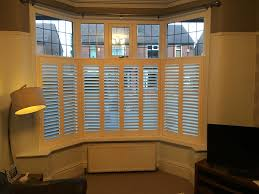 another recent café style 3 sided bay window shutter installation