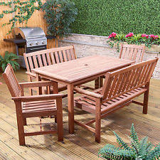 Wooden Patio Table And Chairs Garden Patio Wood Furniture Sets Ebay