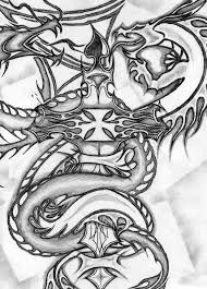 twin dragon cross yin yang by wolf skulls on deviantart