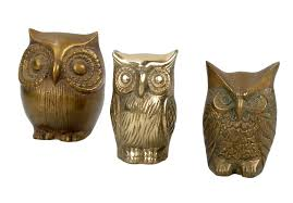 brass owl figurines set of 3 chairish