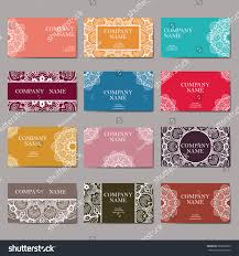 set business cards vintage pattern retro stock vector 580822099