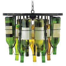unique chandeliers made of old wine bottles inhabit zone