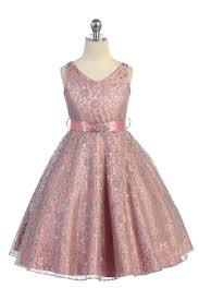 satin sash dusty lace floral pattern flower girl dress with removable
