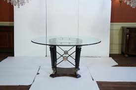 Round Dining Table With Glass Top Transitional Round Glass Top Table Silver U0026 Black Ram Heads