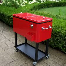red patio cooler with cart 90010 rd