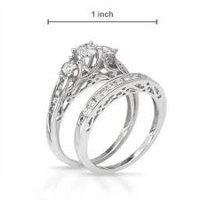 engagement rings and wedding band sets 1 00ct diamond 3 engagement ring wedding band set vintage
