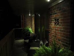 exterior recessed ceiling lamps with soffit lighting and brick