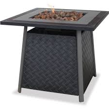 Outdoor Gas Fire Pit Uniflame Lp Gas Slate Finish Fire Pit Table Walmart Com