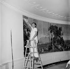 Jackie Kennedy White House Restoration Kn 18730 Worker Hangs Antique Wallpaper In The Diplomatic