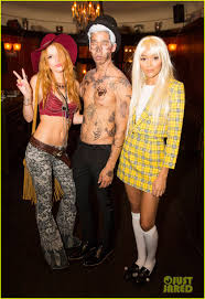 mgk halloween costumes bella thorne guesses the brand at just jared u0027s halloween party