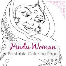 indian coloring page hindu woman portrait line art
