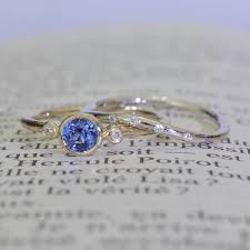 saphire rings promise ring blue sapphire bezel ring with two side