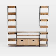 bookshelves with storage industrial modular media set with bookshelves west elm