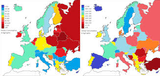European Countries Map Potato And Cereal Consumption In European Country Per Capite