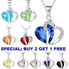 silver chain pendant necklace images Fashion women heart crystal rhinestone 925 silver chain pendant jpg