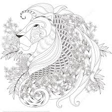 zentagle lion with floral elements design coloring page art