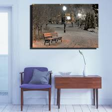 Park Bench Scene Canvas Wall Art With Led Lighted Up Christmas Winter Print Park