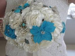 Tiffany Blue Flowers Bride And Bridesmaid Bouquets Boutonnieres Set Ivory Tiffany