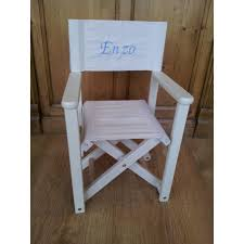 chaise metteur en chaise metteur en scène personnalisée en bois lazurée blanche