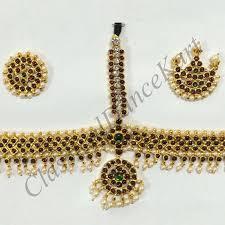 bharatanatyam hair accessories set imitation kemp stones kids temple jewellery for
