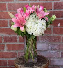 Tall Glass Vase Flower Arrangement Lilies And Hydrangeas
