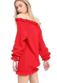 womens ladies ruffle edge off the shoulder knitted tunic bardot