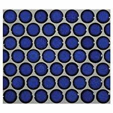 Blue Ceramic Floor Tile 12x12 Cobalt Blue Porcelain Penny Round Glossy Look For Bathroom