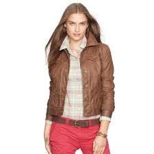 ralph lauren coated trucker jacket in brown lyst