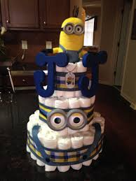 Diaper Centerpiece For Baby Shower by This Is A Minion Diaper Cake That I Created For A Baby Shower