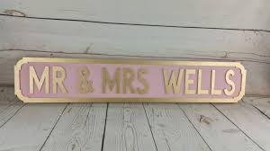 Mr And Mrs Home Decor by Freestanding Personalised Vintage Street Sign Board Any Name
