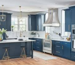 blue kitchen cabinets grey walls kitchen cabinetry