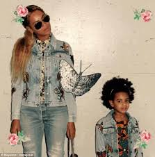 beyonce and blue ivy look cute in matching gucci jean jackets on