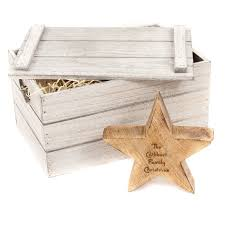 personalised engraved christmas star christmas decoration wooden