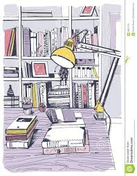 modern interior home library bookshelves hand drawn colorful