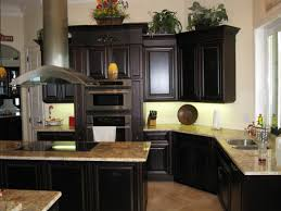 Dark Kitchen Cabinets With Backsplash Glass Windows And Cream Wall Dark Kitchen Cabinets Granite Full