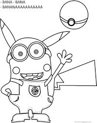 minion pikachu banana pokemon coloring page wecoloringpage