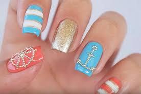 tutorial cute nautical nail art design perfect for this summer
