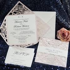 wedding invitation suite classic unique blush pink laser cut wedding invitation suite