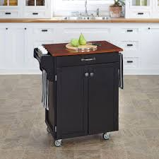 crosley black kitchen cart with stainless steel top kf30022ebk
