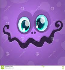 vector halloween cartoon monster face vector halloween violet monster avatar stock