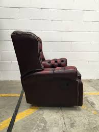 High Back Leather Recliner Chair Oxblood Leather Monk High Back Saxon Chesterfield Recliner Chair 2