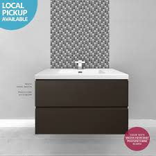 Free Standing Bathroom Vanity by Bogetta 900mm Brown Gloss Polyurethane Wall Hung Freestanding