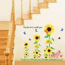 Sunflower Themed Bedroom 1pcs Sunflower Garden Farm 3d Wall Sticker Decals Wallpaper Tv