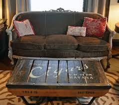 themed coffee tables vintage pallet coffee table with a cigar theme from second chance