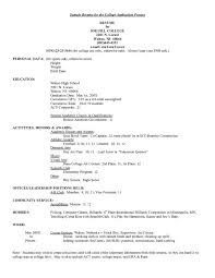 college admissions resume template resume for college application