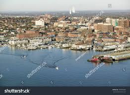 aerial downtown portland harbor portland maine stock photo