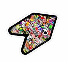jdm sticker bomb multi colour stickerbomb wakaba leaf wak young driver jdm car