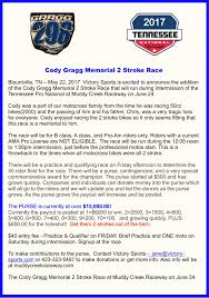 pro am motocross announcing the cody gragg memorial 2 stroke race during the